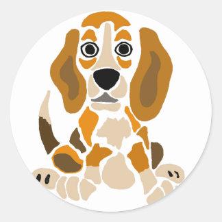Arte abstracto del perrito divertido del beagle pegatina redonda