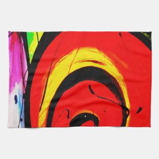 Arte abstracto del remolino rojo paño de cocina