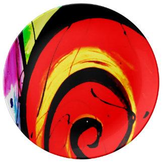 Arte abstracto del remolino rojo plato de porcelana