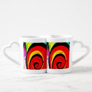 Arte abstracto del remolino rojo set de tazas de café