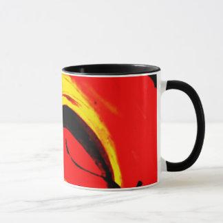 Arte abstracto del remolino rojo taza