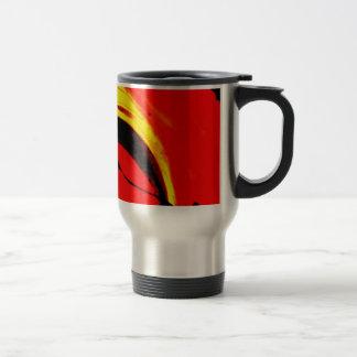 Arte abstracto del remolino rojo taza de viaje
