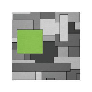 Arte abstracto geométrico gris y verde claro