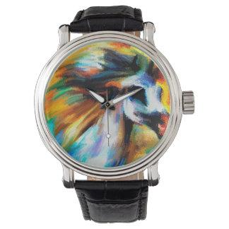 Arte abstracto GrayEquine blanco hermoso del Reloj