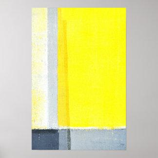 """Arte abstracto gris y amarillo """"desplazado"""""""