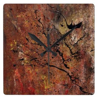Arte abstracto - incendio fuera de control reloj cuadrado