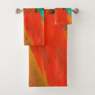 Arte abstracto que pinta verde anaranjado rojo del