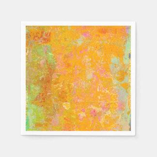 Arte abstracto que pinta verde rosado del amarillo servilleta desechable