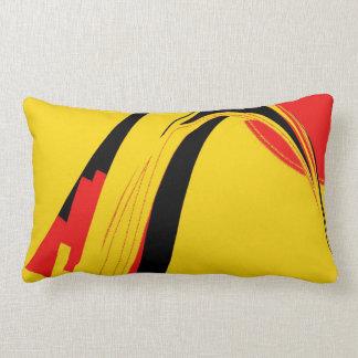 Arte abstracto retro negro amarillo rojo cojín lumbar