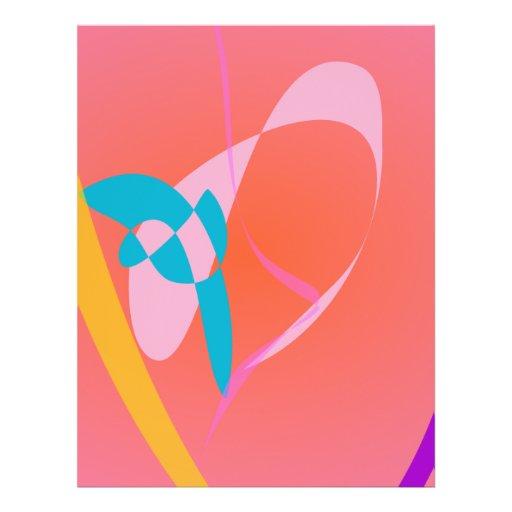 Arte abstracto simple rosado coralino flyer personalizado