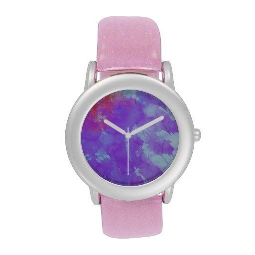 Arte abstracto violeta, tinta azul, roja, amarilla relojes de mano