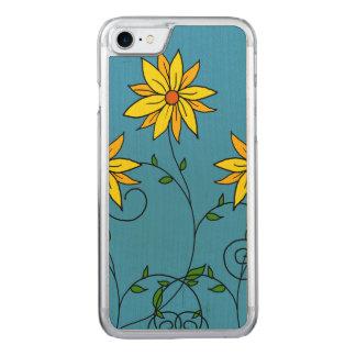 Arte amarillo alegre del Doodle de las flores de Funda Para iPhone 7 De Carved