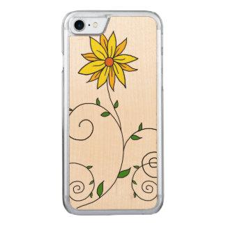 Arte amarillo caprichoso del Doodle de la flor Funda Para iPhone 7 De Carved