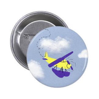 Arte amarillo y azul del aeroplano del dibujo anim pins