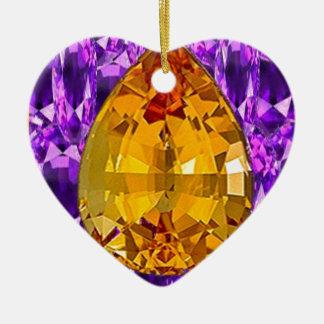 Arte Amethyst de las gemas del Topaz de oro Adorno Navideño De Cerámica En Forma De Corazón