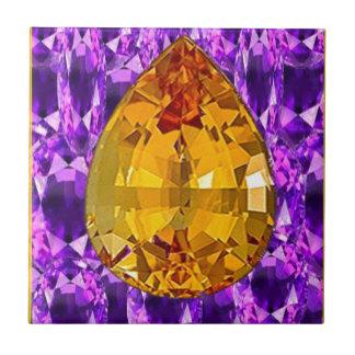 Arte Amethyst de las gemas del Topaz de oro Azulejo Cuadrado Pequeño