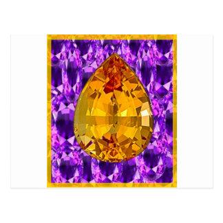 Arte Amethyst de las gemas del Topaz de oro Postal
