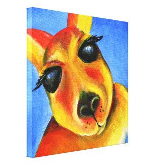 Arte animal de la cara del canguro colorido