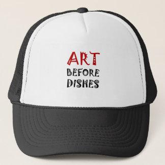 Arte antes de platos gorra de camionero