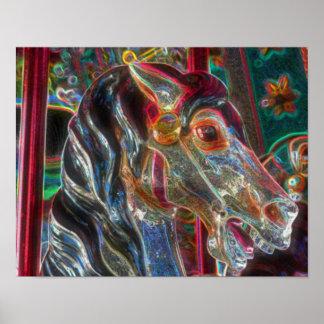 Arte ardiente del caballo del carrusel del corcel  impresiones
