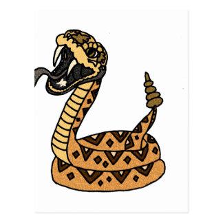 Arte artístico de la serpiente de cascabel de la postal