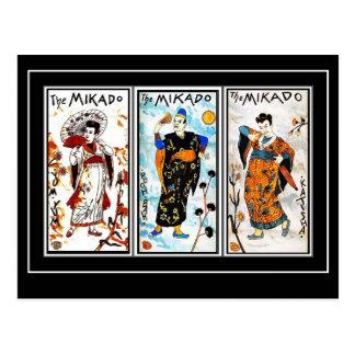 Arte asiático Mikado del vintage de la postal