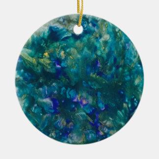Arte azul de la pintura del Watercolour Adorno De Cerámica