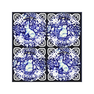Arte azul Dedham de la lona del medallón del