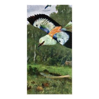 Arte azul del pájaro del rodillo tarjetas personales con fotos