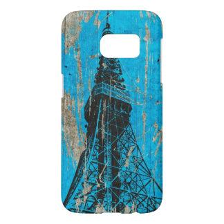 arte azul del vintage de la torre Eiffel Fundas Samsung Galaxy S7