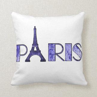 Arte azul eléctrico de la palabra de París del Cojín