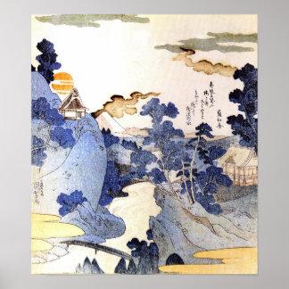 Arte azul Ukiyo-E de Japón Woodblock del vintage Póster