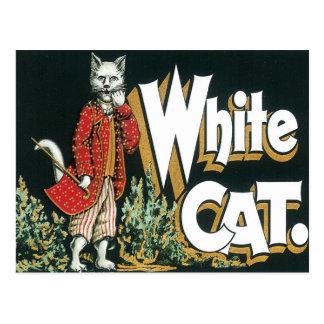 Arte blanco de la etiqueta del cigarro del gato de tarjeta postal