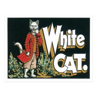 Arte blanco de la etiqueta del cigarro del gato de tarjetas postales
