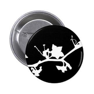 arte blanco y negro floral del vector de la siluet pin
