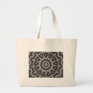 Arte blanco y negro griego hermoso del mosaico del bolsa tela grande