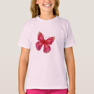 Arte bonito de la mariposa del vintage rosado camiseta