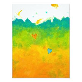 Arte caprichoso del amor del verano que casa invitación 10,8 x 13,9 cm