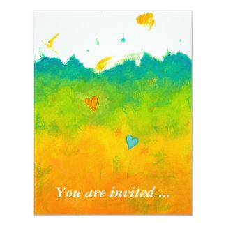 Arte caprichoso único de la ducha del amor nupcial invitación 10,8 x 13,9 cm