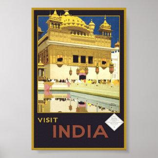 Arte clásico del poster del viaje de la India de