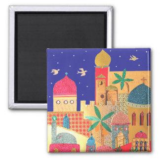 Arte colorido de la ciudad de Jerusalén Imanes