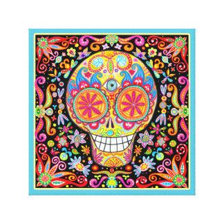 Arte colorido del cráneo del azúcar impresión en tela