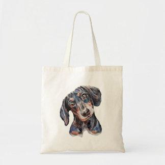 Arte colorido del perro de salchicha del Dachshund Bolso De Tela