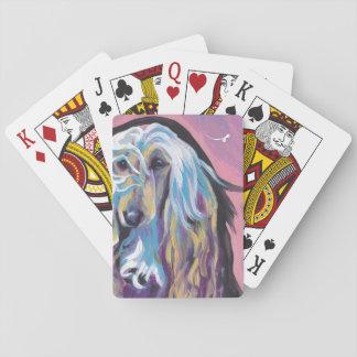 Arte colorido del perro del estallido del afgano barajas de cartas