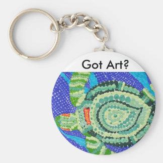 Arte conseguido, pequeña tortuga con muchos puntos llavero redondo tipo chapa