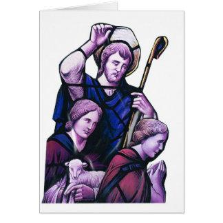 Arte cristiano, buen vitral del pastor tarjeta de felicitación