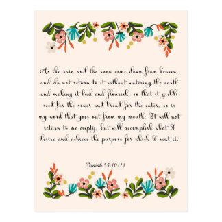 Arte cristiano de la cita - 55:10 de Isaías - 11 Postal