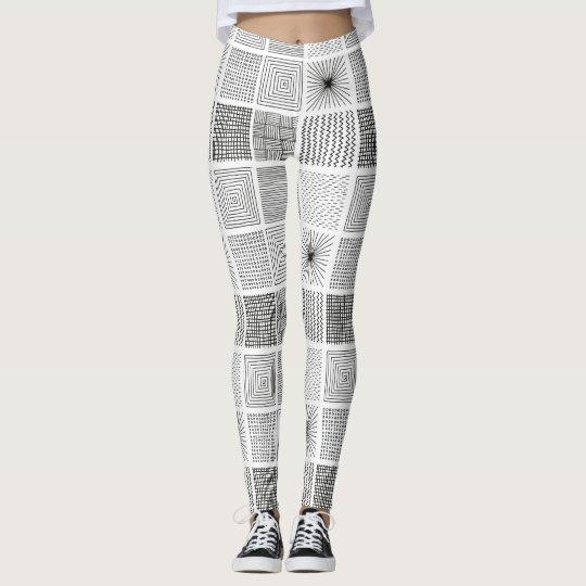 Arte cuadrado abstracto blanco negro intrépido del leggings