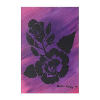 Arte de acrílico subió silueta rosada magenta