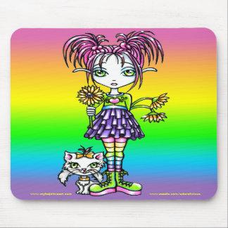 Arte de hadas Mousepad del arco iris lindo del gat
